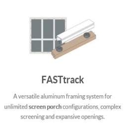 "100% Hidden Fasteners for a clean & professional look, Fast Track is Screen Tights' innovative 2 piece screening system. With unlimited screening configurations possible Fast Track's 1"" x 2"" self-mating channels available in 8' length, create porch structure elements for easy installation and limitless project creativity. This unique aluminum system allows you to screen from the interior or exterior of your porch using flat spline, in less time."