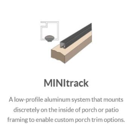 "This ULTRA low profile screening system with completely hidden fasteners is perfect for higher elevations and various second story applications. MINI Track 3/4"" x 3/4"" channels and clips work well with any housing style and trend, blending in without obstructions to create a clean, seamless look. MINI Track channels come in 8' length."