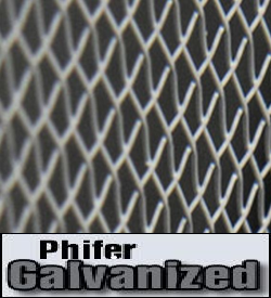Phifer's Galvanized Screening is a high performance standard mesh with a protective zinc coating to enhance durability. Galvanized screening has a variety of uses including insect protection, security, industrial and agricultural applicatios. Galvanized screen has long beena standard in the industry where steel mesh products are required. Use when you require an extra strength material with good durability. This is a tough, .009 gauge, 18 x 14 mesh electro-galvanized material that is stronger than aluminum or fiberglass screen wire.