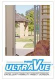 Phifer UltraVue: An Innovative Insect Screen with A great View. For Windows and Doors. the mesh is woven from, refined yarns that improve the screens openness, making visibility sharper and more brilliant. Better InsectProtection, Better Air Flow and Clearer View compared to standard fiberglass insect screen.