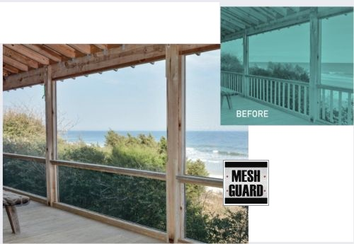 For guardrail infill code requirements, most building codes require the vertical posts that support the handrail to be installed no more than 4 inches apart. This limits porch railing design options and results in an obstructed view to the outdoors. MeshGuard from Screen Tight enables an open, picket-free design and is approved by building codes across America.