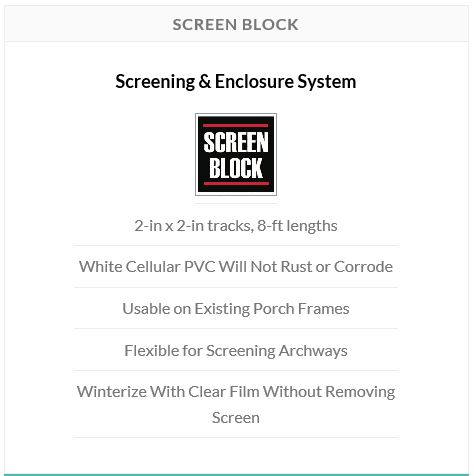Easily convert your porch into an enclosed living space during the colder months without having to remove your screen! Screen Block from Screen Tight is the quick and easy way to extend your livable area of your home.