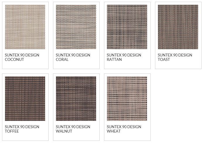 Phifer Suntex 90 Design Color Options: Wheat, Walnut, Rattan, Coral, Toffee, Toast, Coconut